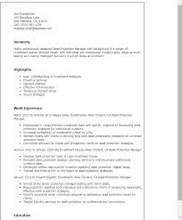 Resume Templates: Asset Protection Manager