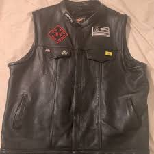 details about collarless leather vest motorcycle biker club concealed carry custom patches