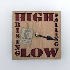 high low tide clock wood red