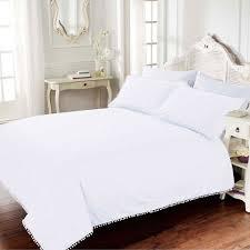 bellissimo pom pom 100 cotton 200 thread count duvet cover set white king linens limited