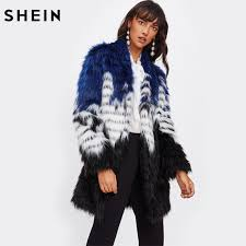 shein color block faux fur open front coat women