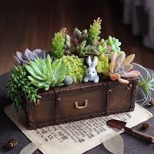 1pc Vintage Resin Suitcase Flowerpot Succulent Plants Planter Luggage Flower  Pot Storage Box Home Garden Decoration Bonsai -in Flower Pots & Planters  from ...