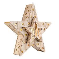 Led Deko Holz Stern 2er Set 33cm 16 Led Weihnachtsstern Beleuchtet Tischdeko
