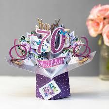 70th birthday flowers 3d pop up card