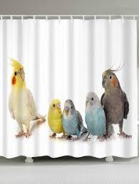 latest parrots print waterproof bath curtain