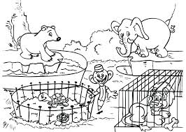 Zoo Coloring Sheet Zoo With Elephant And Other Animals Zoo Coloring