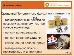 Презентация по праву социального обеспечения Организация работы  слайда 10 Дипломная работа Средства Пенсионного фонда направляются на государственн