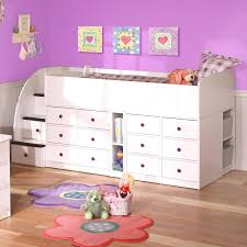 scenic purple kids room design ideas with lovely wall decor and white finish wooden loft beds cheap space saving furniture
