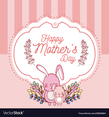 Happy Mothers Day Card With Cute Rabbits Cartoons Vector Image