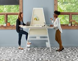 bivi modular desk system in white finish with 2 desks arch accessory with upper and