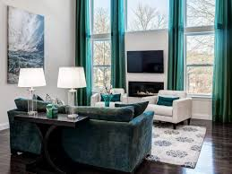 Turquoise Living Room Design Feature Dark Grey Soft Fabric Sofa ...