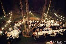 Market Lights and Vintage Edison String Lights at Outdoor Wedding