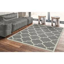 ottomanson contemporary moroccan trellis gray 5 ft x 7 ft area rug