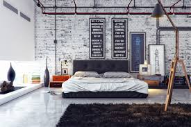 Brick bedroom furniture Kid Interiordazzling Industrial Bedroom Interior Design With White Brick Wall And Dark Brown Fur Rug Beehiveschoolcom Interior Dazzling Industrial Bedroom Interior Design With White