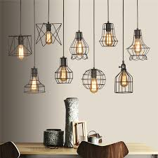 details about vintage industrial metal cage wire frame loft ceiling pendant light lamp shade