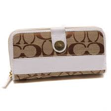 Coach In Signature Large White Wallets 22794