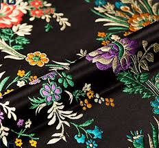 Floral Brocade 2019 Black Floral Brocade Fabric Damask Jacquard Apparel Costume Upholstery Furnishing Crafts Patchwork Cushion Fabric 75cm 50cm From Honhui 34 54