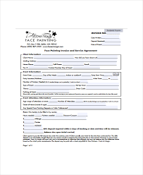 face painting in and service agreement