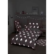 glow in the dark unicorn single duvet