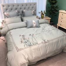 perfect embroidered flower 80s egyptian cotton bedding set queen king past duvet cover bed sheet set pillowcases blue striped duvet cover fl duvet
