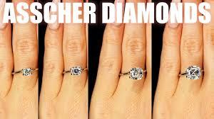 Asscher Cut Diamond Size Comparison On Hand Finger Engagement Ring Shape 75 Carat 2 Ct 1 3 4 1 5