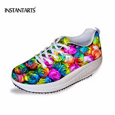 Floral Design Shoes For Ladies Us 29 99 25 Off Instantarts Fashion Women Rose Flower Printing Flat Slimming Shoes Floral Design Breathable Flat Swing Shoes Plarform Shoes Girl In