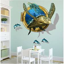 miico 3d creative pvc wall stickers home decor mural art removable sea turtle decor sticker