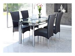 black glass dining table and chairs room ideas home sets top extension white leather contemporary kitchen