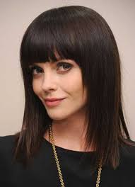 shoulder length hair with straight bangs