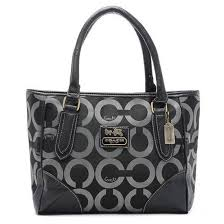 Coach Madison Logo In Signature Large Black Totes 20524