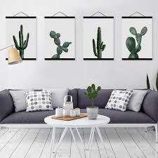 nordic modern floral watercolor green cactus framed canvas painting living room home decor wall art print on cactus wall art framed with nordic modern floral watercolor green cactus framed canvas painting
