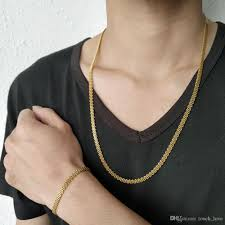Thin Gold Necklace Designs Tl Men Bracelet And Necklace 14k Gold Chains New Designer Thin Link Power Bracelet Stainless Steel Not Easy To Fade 2 Pieces 5