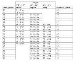 36 Suit Size Chart Sizing Suit Man Usa