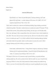 annotated bibliography alcoholism driving under the influence