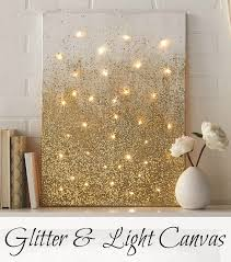 diy project glitter and light canvas