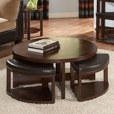 weston home brussel ii round brown cherry wood coffee table with 4 ottomans com