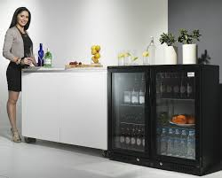 black bar fridge display two door under bench