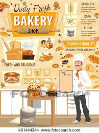 Vector Pastry Bakery Ingredients And Baker Clipart K61444344