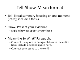 tell show mean analytical essay ppt video online  tell show mean format