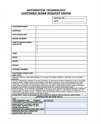 Automotive Request Work Order Template Repair Works