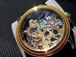 timezone s corner archive  fs three mechanical skeleton 2 invicta 44mm yellow gold plated case brown genuine alligator strap chinese 6497 clone movement