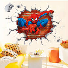 3d Wall Art 3d Spiderman Break Through The Wall Art Mural Decor Sticker Kids