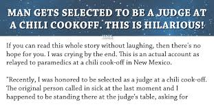 chili cook off judging sheet man gets selected to be a judge at a chili cook off this is hilarious