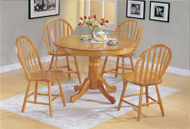 5 Pc Farmhouse Round Dining Set In Oak Table And 4 Chairs Indoor