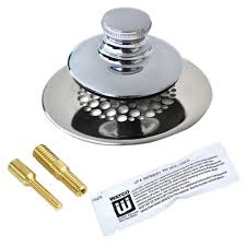 watco universal nufit push pull bathtub stopper with grid strainer and silicone two pins in