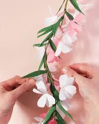 Paper Flower Stems Paper Flower Garland Martha Stewart