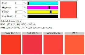 Cmyk To Pantone Color Conversion Chart Cmyk To Pms Color Code Converter Pms Colour Pantone