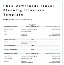 Trip Planner Itinerary Template Excel Road Practical Free