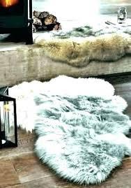 brown faux fur rug gray bear tabby area white w coyote premium fake fur rug
