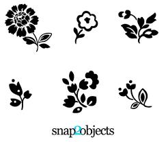 可愛い花のシルエット ベクターイラストai 無料イラストフレーム